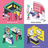 isometric expo stand exhibition design concept vector