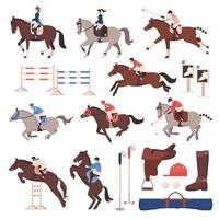 equestrian sport horse riding racing set vector