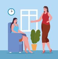 women talking at home vector design