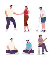 set of people doing activities vector design