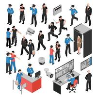 isometric security system control set vector