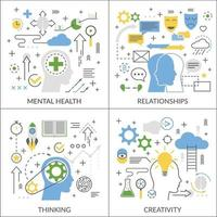 mental concept flat icons 2x2 vector