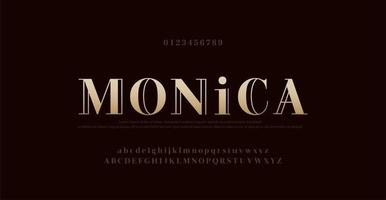 elegante fuente de letras del alfabeto y número. tipografía letras clásicas diseños de fuentes de moda mínima. ilustración vectorial vector