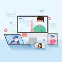 videoconferencia de personas en la pantalla de la computadora, computadora portátil, teléfono inteligente y tableta con un colega. grupo de personas inteligentes que trabajan desde casa. manténgase a salvo coronavirus o concepto de pandemia covid-19. vector