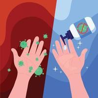 Las manos sin lavar tienen virus y lavarse las manos con alcohol para prevenir el virus corona. concepto de ataque pandémico y brote de covid-19 y coronavirus mundial. vector