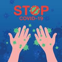 coronavirus spread on hand in flat style. washing hands concept. coronavirus or covid-19 outbreaking and pandemic attack concept. vector