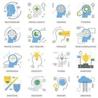 mental concept flat icons vector