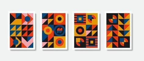 Nueva estética del modernismo en la tarjeta de diseño de carteles vectoriales. Gráficos inspirados en el brutalismo en diseños de plantillas web hechos con formas geométricas abstractas, útiles para carteles, encabezados de sitios web, impresión digital. vector