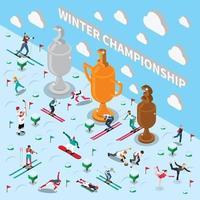 composición isométrica de personas del deporte de invierno vector