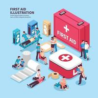 isometric first aid illustration vector
