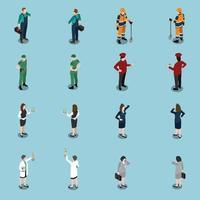 profesiones uniformes personas isométricas set 2 vector