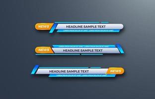 Interfaz de vector de diseño futurista barras de banner del tercio inferior. Transmitiendo video. última hora, noticias deportivas.