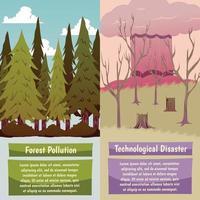 Banners ortogonales de desastres provocados por el hombre. vector