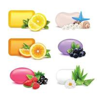 soap bars and fruits realistic vector