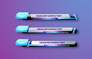 Interfaz de vector de diseño futurista barras de banner de tercio inferior inferior. Transmitiendo video. última hora, noticias deportivas.