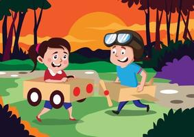 Vector illustration of happy children playing in playground in the afternoon
