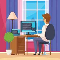 designer artist freelancer cartoon composition vector