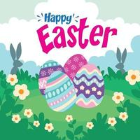 Vector Illustration of Happy Easter Holiday with Painted Egg, Rabbit  and Flower on Colorful Background