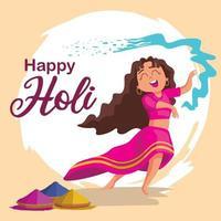 Ilustración de fondo colorido feliz holi para celebración del festival de colores vector