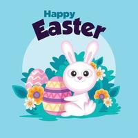 Easter cartoon smiling bunny with easter egg in light blue background vector