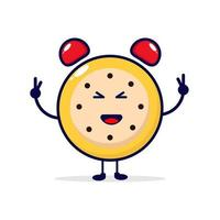 reloj sonrisa lindo personaje ilustración vector