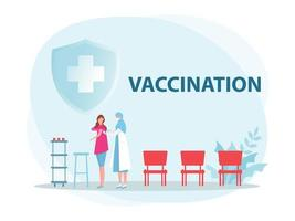 Female doctor with syringe gives vaccinations, Health vaccination doctor, immunization in clinic vector illustrator.