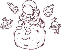 vector astronauta sentado en la luna. Ilustración de vector de doodle de astronauta