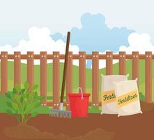 Gardening fertilizer bags, rake, and bucket vector design