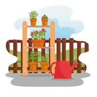 plantas de jardinería, macetas y regadera diseño vectorial vector