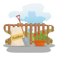 bolsa de fertilizante de jardinería, pala y diseño de vectores de flores