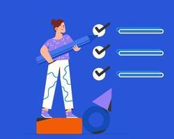 Woman Completes checklist vector