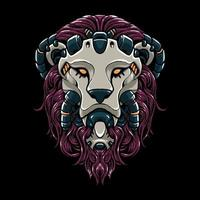 Cyber lion head vector Illustration