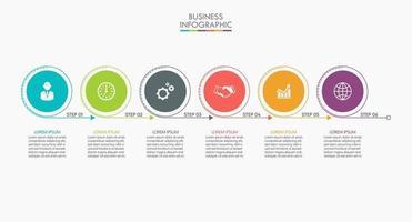iconos de infografías con 6 opciones vector