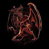 Red dragon art vector illustration