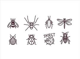 Big hand drawn line set of insects vector