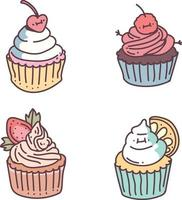 cup cake doodle style. vector icon set illustration