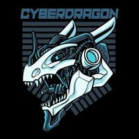 Cyber dragon head vector illustration