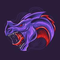 Purple dragon head vector illustration