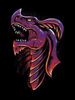 Red dragon head vector illustration