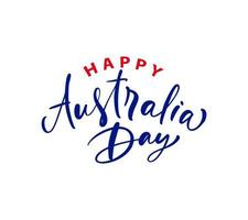 Handwritting calligraphic text logo Happy Australia day lettering, calligraphy. Isolated on white background. Vector illustration EPS 10