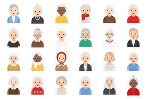 Conjunto de iconos planos de avatar de anciana, ilustración vectorial vector