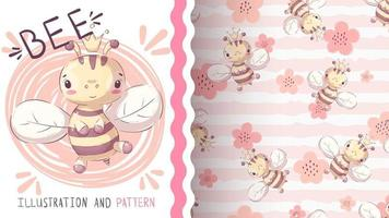 abeja animal personaje de dibujos animados infantil. vector