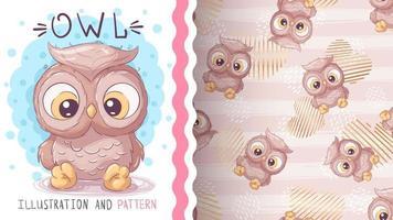 búho animal personaje de dibujos animados infantil - patrón transparente vector