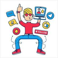 Social media influencer generation concept illustration, young generation addict with internet fame and follower engagement vector