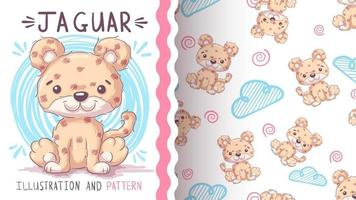 personaje de dibujos animados infantil animal jaguar - patrón sin costuras vector