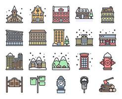 Winter City filled vector icon set