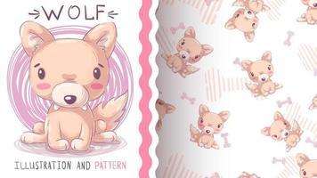 personaje de dibujos animados infantil lobo animal - patrón sin costuras vector