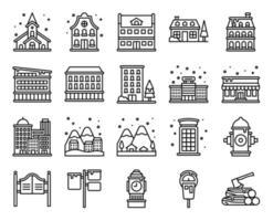 Winter City line vector icon set