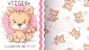 Tigre animal de personaje de dibujos animados infantil - patrón transparente vector