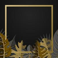 Golden Square Background Template with Tropical Plant Leaf Border vector